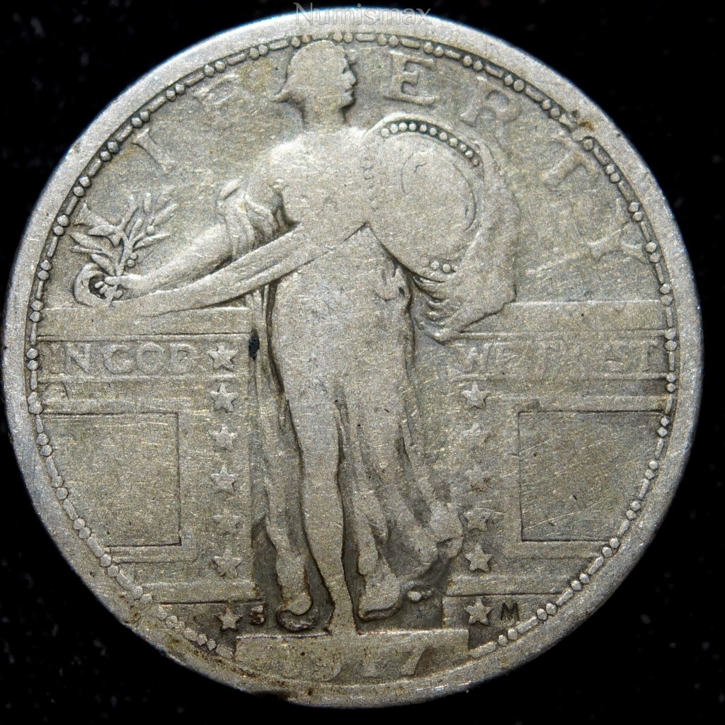 1917-S Standing Liberty Quarter Variety 1