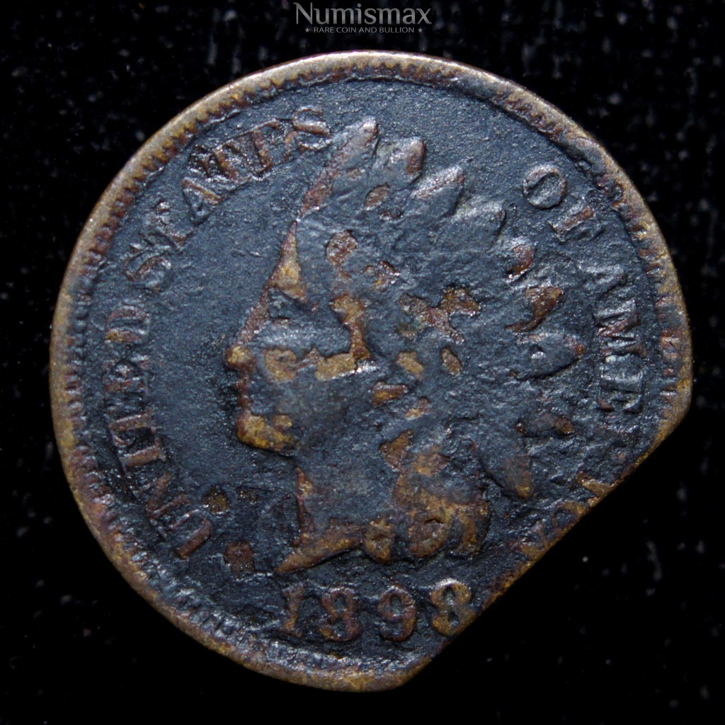 1898 Indian Head Cent Clipped Planchet