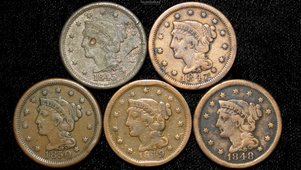 1845 1847 1848 4849 1850 Braided Hair Large Cents (5 Coin Lot).