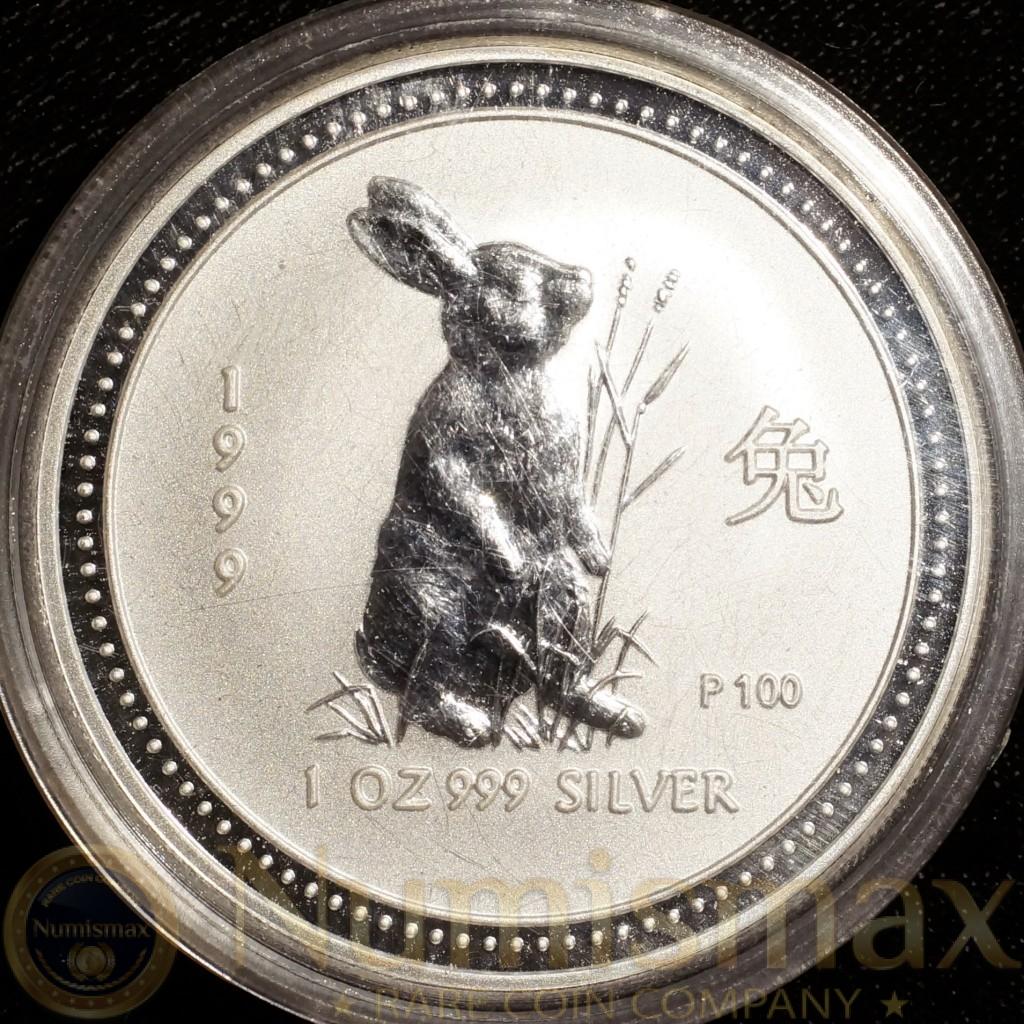 "1999 Australia $1 Silver Lunar Rabbit ""P100"""