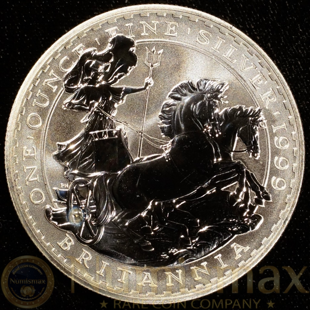 1999 Great Britain Silver Britannia £2 Pound Coin