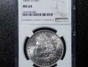 1892 New Orleans Morgan Silver Dollar   NGC MS64