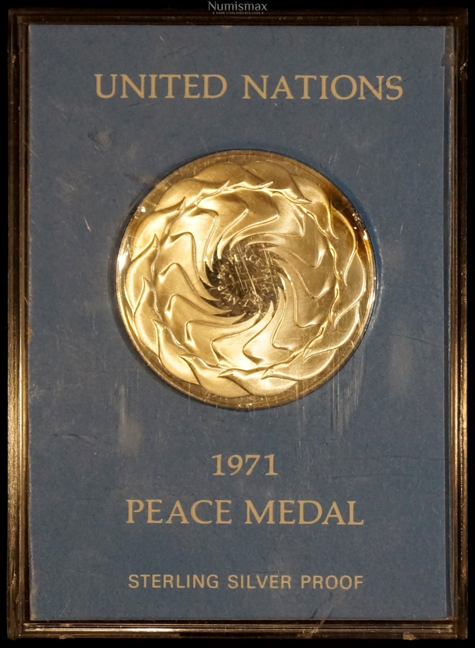 1971 United Nations Sterling Silver Proof Peace Medal