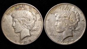 1925 Philadelphia and San Francisco Peace Silver Dollars   2-Coin Lot