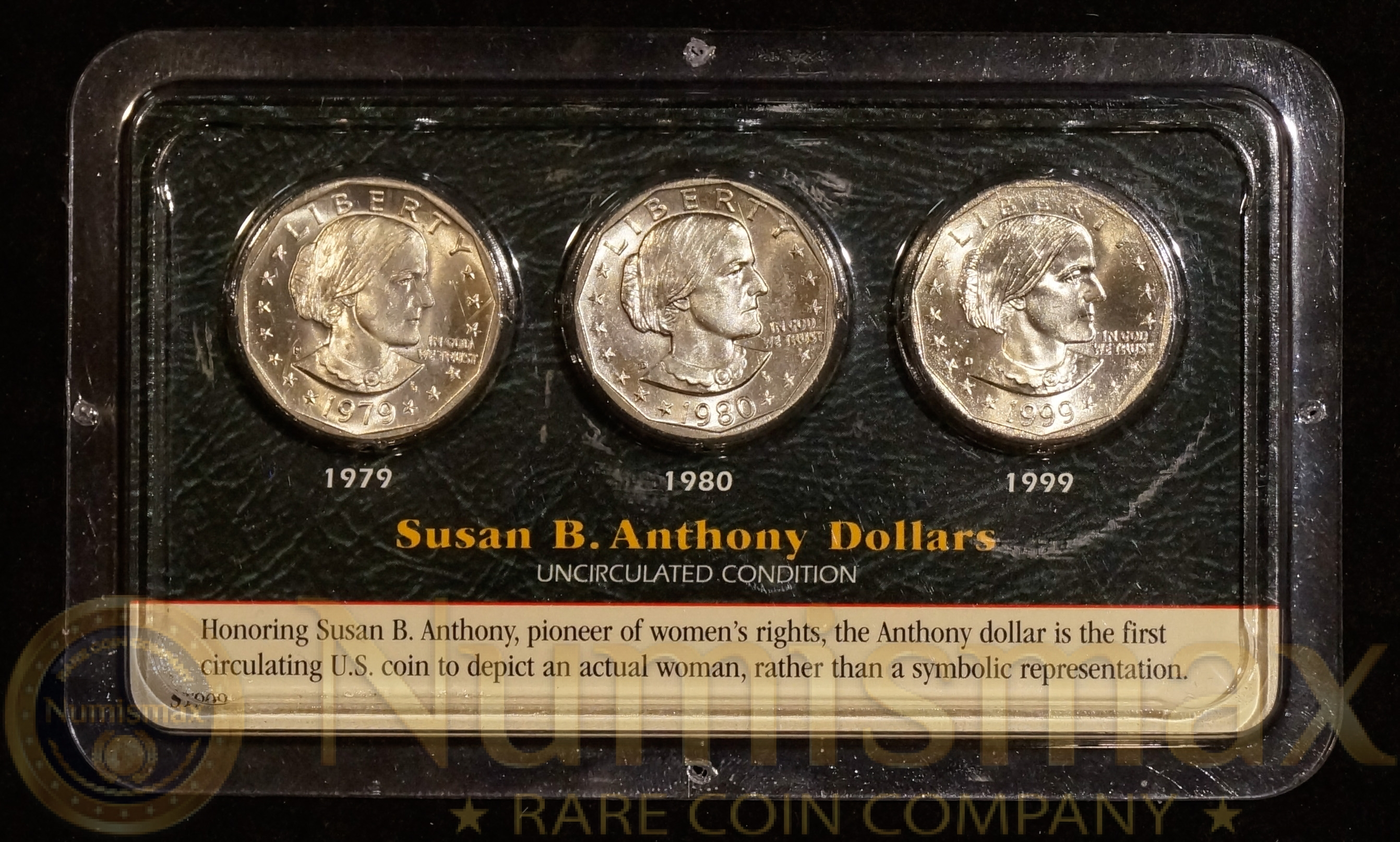 1979 S, 1980 D, 1999 D Susan B  Anthony Dollar Set | 3-Coin Set