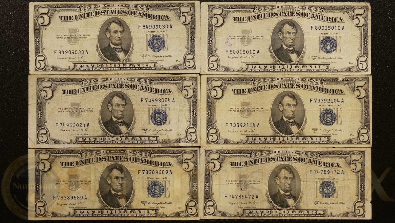 1953 B 5 Silver Certificates 6 Note Lot