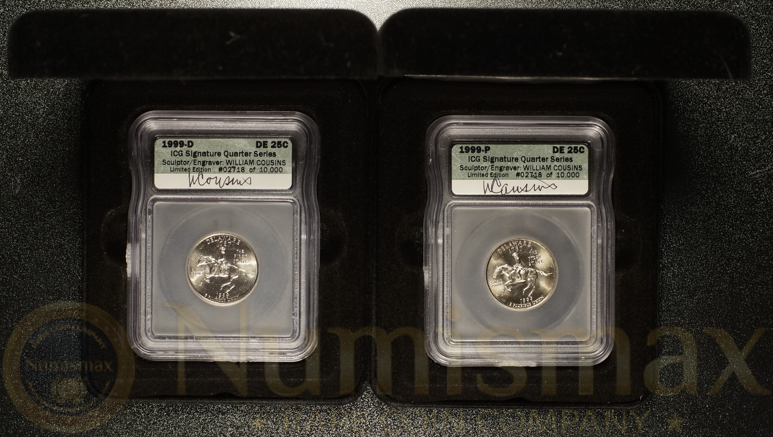 1999 D&P Delaware State Quarters ICG Signature William Cousins | Two Coin  Lot