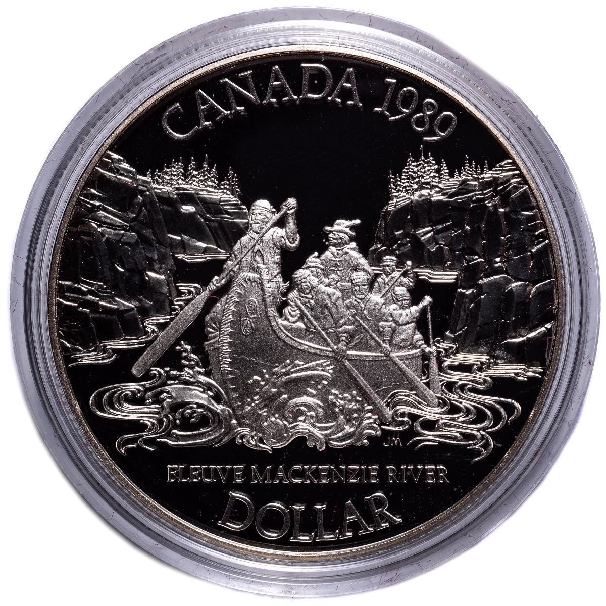 1989 CANADA MACKENZIE RIVER PROOF SILVER DOLLAR COIN